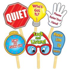 Teachers Friend These six classroom signs come with an easy-to-use wooden handle. The teacher silently raises the appropriate sign to direct students to the correct behavior. Kindergarten Classroom Decor, Classroom Signs, Classroom Displays, Classroom Organization, Preschool Class Rules, Preschool Jobs, Clean Classroom, Classroom Schedule, Classroom Images