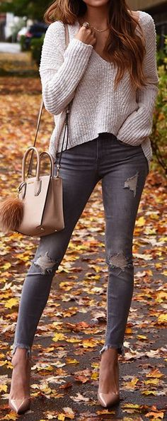 #fall #outfits / v neck knit + gray