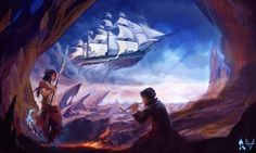 """Wondersail - Way of Kings Stormlight Archives by 8-bitpunch  The Way of Kings Chapter 57 - Wandersail  """"He [Derethil] named the vessel the Wandersail and gathered a crew of the bravest of sailors. Then, on a day when a highstorm brewed, this ship cast..."""