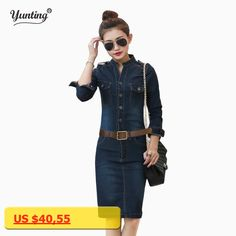 S XL XXL Female/Ladies Casual Denim Dress Vintage Jeans Dresses Long Sleeve Blue New 2017 Fashion Women Spring Autumn