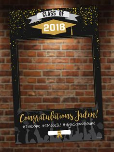 Get this Black and Gold Graduation Photo Booth for the whole class or for that hardworking student!