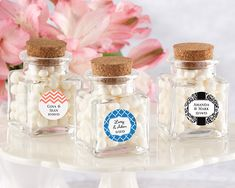 """""""Petite Treat"""" Personalized Square Glass Favor Jar with Cork Stopper (Set of 12)"""