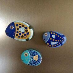 Fish- balıklar- buzdolabı magneti #fish #magnet #stone #taş #taşboyama #balık #stonepainting