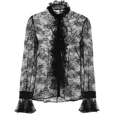Alexander McQueen Ruffled Chantilly lace blouse (€920) ❤ liked on Polyvore featuring tops, blouses, black, alexander mcqueen tops, flutter-sleeve top, ruffle blouse, lace blouse and frill blouse