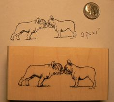 French bulldogs kissing rubber stamp P51 by dragonflybuzz on Etsy