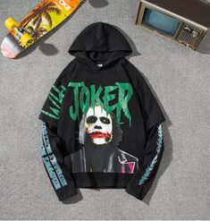 First Joker, Joker Costume, Hooded Sweatshirts, Hoodies, Hip Hop Dance, Hipster, Unisex, Pullover, Casual
