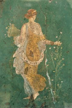 Flora (spring). A fragment of the fresco from Stabiae. 1 BC.