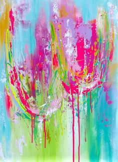 """Abstract Tulips Original Painting - Pink, Teal, Magenta Colors - ModernTulips  Painting Impasto Texture 24"""" by 36"""" - Home Decor. $300.00, via Etsy."""