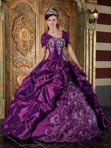 Charming Strapless Purple Taffeta Long Sweet Sixteen Dress with Embroidery