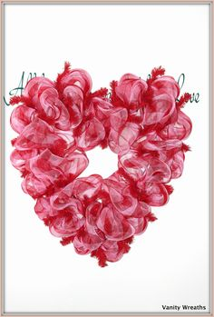Vanity Wreaths: Make A Heart-Shaped Mesh Wreath for Valentines Day