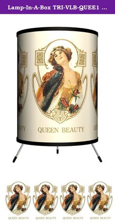 Lamp-In-A-Box TRI-VLB-QUEE1 Vintage Labels - Queen Beauty 1 Tripod Lamp. Lamp-In-A-Box makes fun and affordable lamps that are totally relevant to everyone's lifestyle. With an extensive design library, Lamp-In-A-Box is proud to offer any and every one a great gift - the gift of light. The only lamp that adults, teenagers, and children alike are raving about!.