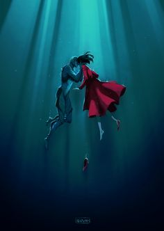 The shape of water!  a speedpaint video of this will be available on my Patreon on august 1st!  I can't wait for this movieeeeeeee