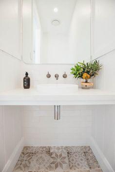 Kyal and Kara's Central Coast Australia home renovation - getinmyhome. Bathroom patterned tiles and mirror splashback. Basement Bathroom, Bathroom Interior, Downstairs Toilet, Bathroom Plumbing, Mirror Splashback, Kyal And Kara, Beaumont Tiles, Bathroom Inspiration, Bathroom Ideas