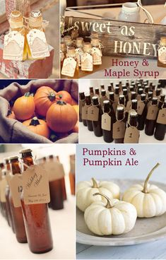 Fall wedding favors, honey and maple syrup, pumpkin ale