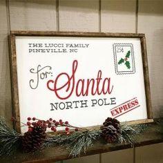 letter to santa framed wood-sign