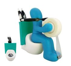 RICSB 'The Butt' Office Supply Station Desk Accessory Holder, Blue
