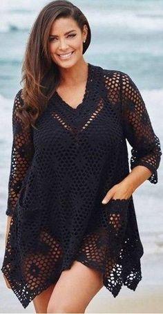 crochelinhasagulhas: Saída de praia preta em crochê