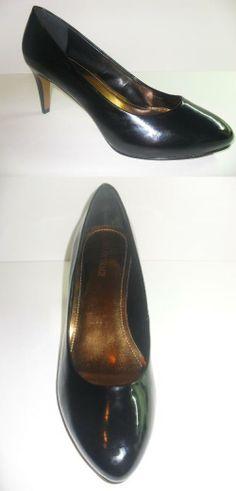 e2b4affb785 WOMEN S ELLEN TRACY BLACK PATENT ROUND TOE PUMP (ELLA)