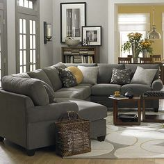 New living room grey sectional gray walls ideas Living Room Grey, Home Living Room, Living Room Furniture, Living Spaces, Cozy Living, Brown Furniture, Furniture Layout, Furniture Arrangement, Furniture Stores