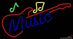 Blue Music Red Guitar Real Neon Glass Tube Neon Sign,Affordable and durable,Made in USA,if you want to get it ,please click the visit button or go to my website,you can get everything neon from us. based in CA USA, free shipping and 1 year warranty , 24/7 service