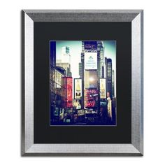 Trademark Fine Art 'Times Square' Canvas Art by Philippe Hugonnard, Black Matte, Silver Frame, Green