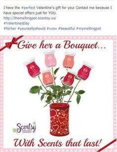 I have the PERFECT Valentine's Day gift!!  Contact me today because I have a GREAT Scentsy deal that is for your eyes only.  http://themeltingpot.scentsy.us  #VIP #Scentsy #ValentinesDay #gift