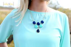 Cobalt & Turquoise Teardrop Necklace by shoproyalbowtique on Etsy, $35.00