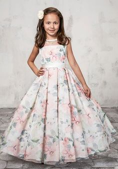 Long Floral Print Flower Girl Dress by Mary's Bridal Bridal Angels Collection-ABC Fashion Long Frocks For Kids, Frocks For Girls, Gowns For Girls, Dresses Kids Girl, Girls Party Dress, Dress Party, Party Gowns For Kids, Baby Girl Gowns, Little Girl Gowns