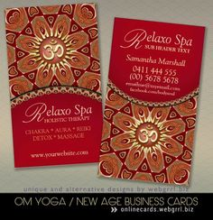 Relaxo Spa Yoga Om New Age Business Cards by onlinecards