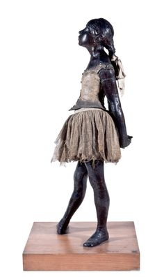 Edgar Degas<br/> <em>The little fourteen-year-old dancer (La Petite danseuse de 14 ans)</em> 1879–81, cast 1922–37<br/> bronze with cotton skirt and satin ribbon<br/> 99.0 x 35.2 x 24.5 cm<br/> Czestochowski/Pingeot 73 (cast unlettered)<br/> Museu de Arte de São Paulo, Assis Chateaubriand<br/> Donated by Alberto José Alves, Alberto Alves Filho and Alcino Ribeiro de Lima (426 E)<br/>