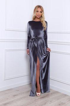 Gray Velvet bridesmaid Maxi Dress party custom made Dress Slit Long Sleeves | eBay