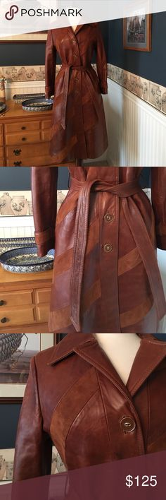 Vintage Leather Trench Coat Size XS- S Unique vintage leather trench coat with suede accents. The leather shoes signs of wear but in very good vintage condition. Size  tag is missing but the coat would fit an XS or S. The sleeves seem a little short on this coat so please check measurements. Sleeves measure 16 inches from armpit down. Armpit to armpit measures 17.5 inches when flat . Waist measures 14.5 inches when flat. Length measures 43 inches when flat from shoulder down. Napa Y Ante…