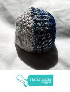 Solid Blue Variegated Blue and White and Solid White Striped Hand Crocheted…