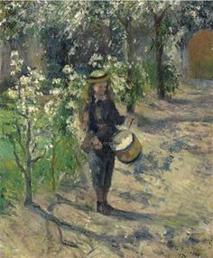 Camille Pissarro - L'enfant au tambour, 1877. Oil on canvas, 21¾ x 18 1/8 in. (55.3 x 45.9 cm.). @ Christie's, New York. Sold for 1,915,750 USD