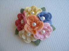 Felt Flower Cluster Pin via Etsy