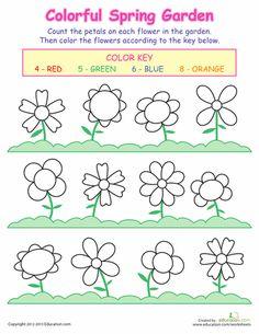 PreK Worksheets: Counting Flowers