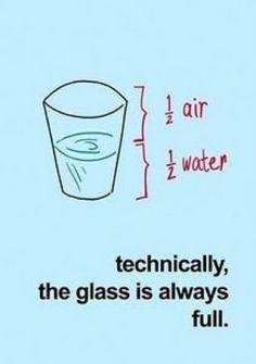 Técnicamente el vaso esta a medias