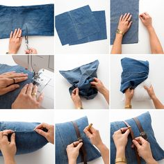 Follow this tutorial to make a pillow out of a pair of jeans.