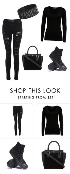 """""""Blak"""" by luna-maus ❤ liked on Polyvore featuring French Connection and Converse"""
