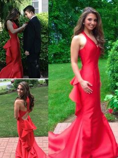 Sexy Evening Dress,Red Evening Gowns,Prom Dresses,Mermaid Evening Dresses,Long Prom Gown,Strapless Party Dresses PD20181983