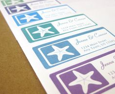 Starfish Address Labels Personalized Return by LavenderPeach, $8.00