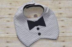 Gray Chevron Tuxedo  Bow Tie Applique Baby Bib  Ready to Ship