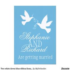 "Two white doves blue ribbon formal wedding invite 5"" x 7"" invitation card"