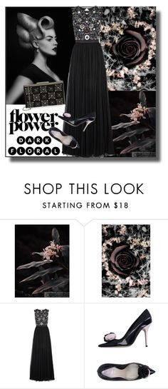 """""""Dark Florals"""" by sheri-gifford-pauline ❤ liked on Polyvore featuring Needle & Thread, Christian Dior, Glint, floral, black, Flowers and darkflorals"""