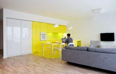 Le studio de design polonais PERA a conçu l'intérieur de cet appartement à Cracovie dans des tons flashys afin d'égayer l'habitation. Rompre...