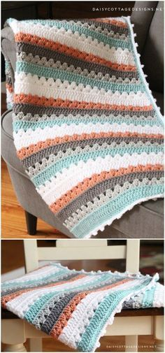 Easy Crochet Afghans Crochet Blanket Pattern Free Crochet Blanket Patterns Free Patterns - If you want to work on your skills then these quick to make and easy crochet blanket patterns will be perfect for brushing up your abilities. Crochet Afghans, Motifs Afghans, Easy Crochet Blanket, Crochet For Beginners Blanket, Crochet Patterns For Beginners, Afghan Crochet Patterns, Knitting Patterns, Crochet Ideas, Sewing Patterns