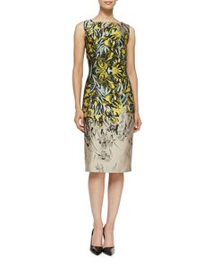 Carolina Herrera Iris Jacquard Sheath Dress