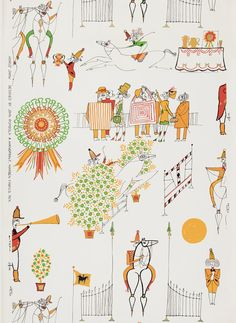 Rombola began designing wallpapers in 1956 and continued creating new patterns until 1968, Horse Show was one of his earlier designs and set the stage for more whimsical and colorful things to come