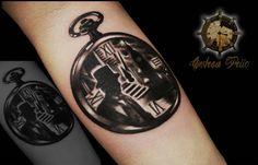 Pocket watch tattoo# background of london