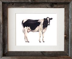 Dairy Cow Watercolor Fine Art Print by SarahEWainStudio on Etsy